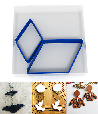 SMALL 3/5CM Rhombus Polymer Clay Cutter Jewellery Making Kit Craft Set Shape  • 3.99£