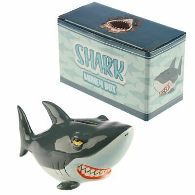 Ceramic Cartoon Shark Money Box Piggy Bank With Rubber Bung NEW BOXED • 7.95£