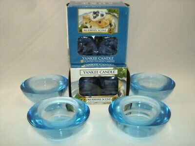 Yankee Candle 24 Blueberry Scone Tea Light Candles & 4 Round Blue Glass Holders • 28.54£