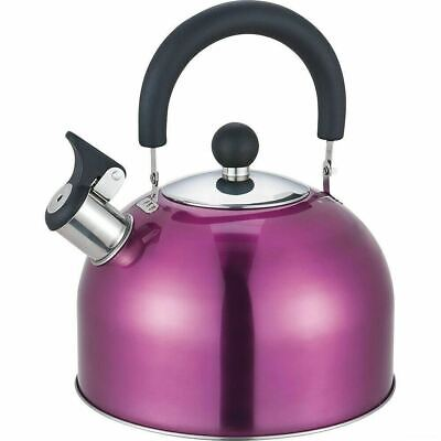 2.5l Purple Stainless Steel Kettle Kitchen Camping Gas Hob Whistling Retro Stove • 9.99£