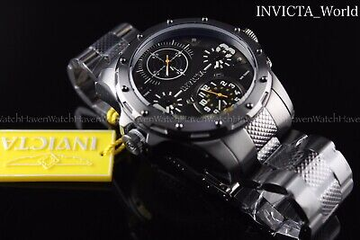 Invicta Men's Coalition Forces Dual Time Zone 50mm Gunmetal SS Steel Watch NEW • 79.17£