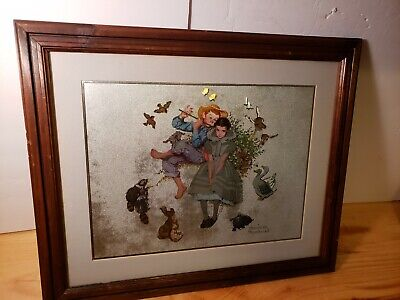 $ CDN66.67 • Buy Sweet Song So Young Norman Rockwell Color Metallic Etching Art Framed Matted
