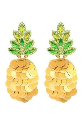 $ CDN19.99 • Buy KATE SPADE By The Pool Green Crystal Golden Sequins Pineapple Statement Earrings