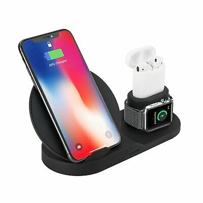 AU25.19 • Buy 3In1 Qi Wireless Fast Charger Dock Pad Stand For AirPods IPhone 11 Pro Max XS