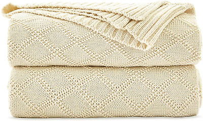 £28.39 • Buy Longhui Bedding Cream Cotton Cable Knit Throw Blanket For Couch Chairs Beach Sof