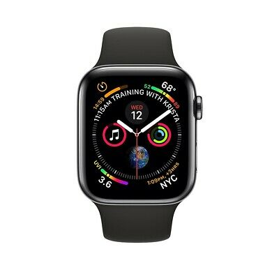 $ CDN449.99 • Buy Apple Watch Series 4 44mm Black Stainless Steel, Black Sport Band (GPS+Cellular)