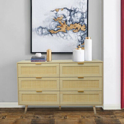Light Rattan 6 Draw Chest Of Drawers Bedside Table Modern Bedroom  • 149.99£