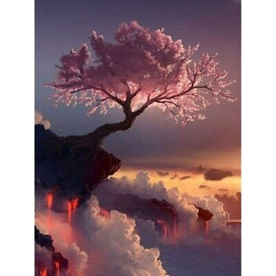 AU16.87 • Buy 5D Full Drill Diamond Painting Tree On The Cliff Embroidery Kits Decors Mural
