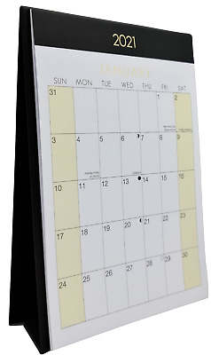 2021 Month To View Stand Up Desk Office Top Calendar Planner Black & White ### • 3.99£