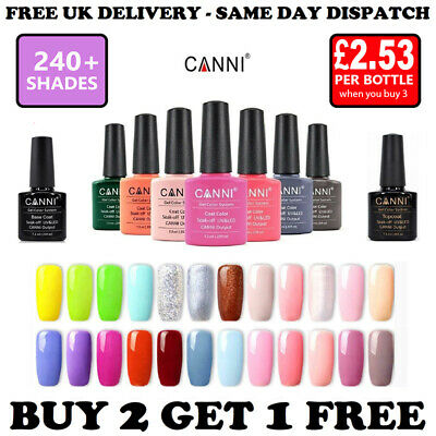 Nail Gel Polish CANNI Soak Off UV LED Colour Nail Varnish Base Top Coat 7.3ml • 3.79£
