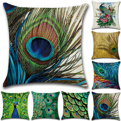 18x18  Square Peacock Feather Printed Pillow Cases Cushion Cover Room Home Decor • 3.89£