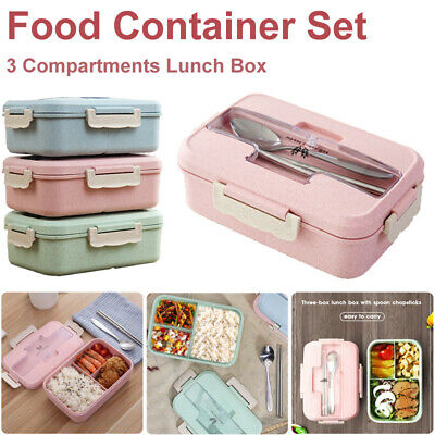 3 Compartments Food Container Set Lunch Box For Kids Adults Bento Storage Boxes • 6.99£