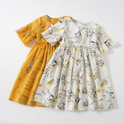 AU20.40 • Buy Toddler Baby Kids Girls Ruched Floral Dress Flower Skirt Party Princess Dresses