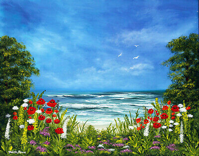 Original Painting  Sea View  -  20  X 16  Canvas Board By Judith Rowe • 75.99£