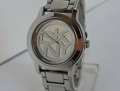 DKNY NY8875 'LOGO' Ladies Silver Tone Ion Plated Stainless Steel Bracelet Watch • 28£