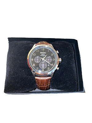 $ CDN141.59 • Buy Authentic Seiko Core Men's Solar Chronograph Brown Leather Watch SSC565