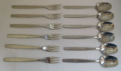 Vintage Viners Of Sheffield Stainless Steel Chelsea X6 Forks & X6 Desert Spoons • 9.99£