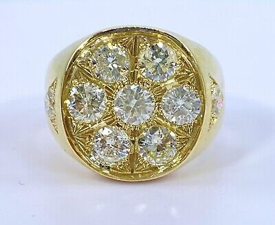 $2500 • Buy 2.54 Ct NATURAL 9x DIAMOND Mens Round Cluster Pinky Ring 14k Yellow GOLD (VIDEO)