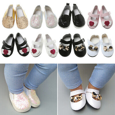 £2.94 • Buy Clothes Doll Shoes Sequin Casual Shoes 18 Inches Doll Bow Leopard Leather Shoes