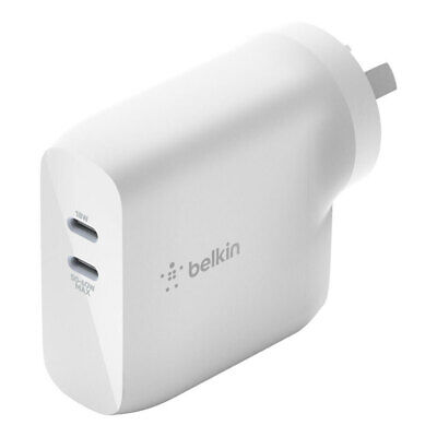 AU78 • Buy Belkin Dual USB-C 68W GaN Wall Charger Plug Adapter For IPhone/MacBook/Samsung
