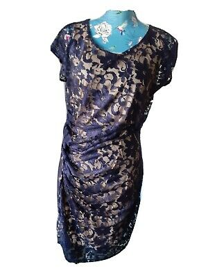 Savoir Dress Size 14-16 Navy Blue Floral Lace Nude Underlay Lining  Ruched Side • 9.99£