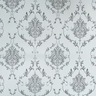 Retro Damask Floral Traditional Pattern Grey & White Wallpaper FREE POSTAGE • 7.95£