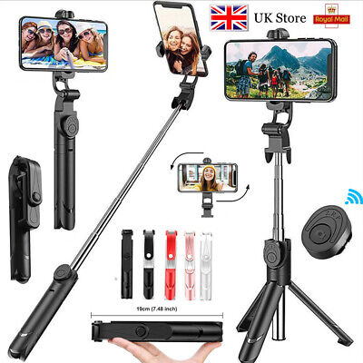 For IPhone Samsung Telescopic Selfie Stick Bluetooth Tripod Monopod Phone Holder • 10.19£