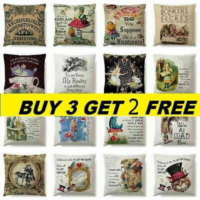 3D Alice In Wonderland Cotton Linen Cushion Cover Pillow Case Throw Home Car UK • 4.63£