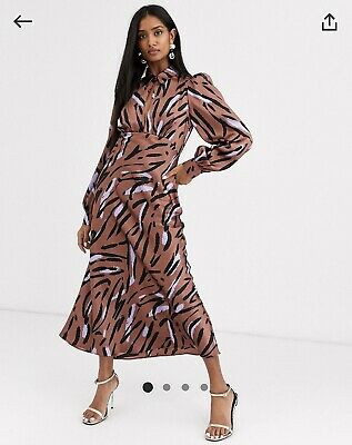 AU15.50 • Buy Asos 14 Maxi Dress Zebra Animal H&m Gorman