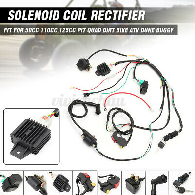 $24.19 • Buy 50 110 125cc Wiring Harness Loom Solenoid Coil CDI Set For PIT Quad Dirt Bike
