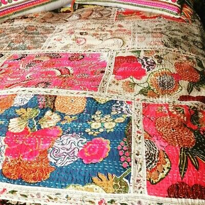 Indian Handmade  Kantha Quilt Blanket Quilt  Coverlet Throw (double, King-size)  • 85£