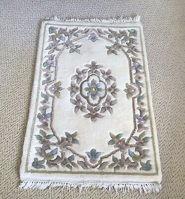 "Small Vintage Traditional Decorative Floral Shabby Chic Wool Rug - 40"" X 25"" • 25£"