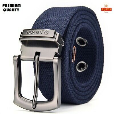 Mens Canvas Belt High Quality Alloy Buckle Free Size Belts Trouser Jeans UKStock • 6.99£