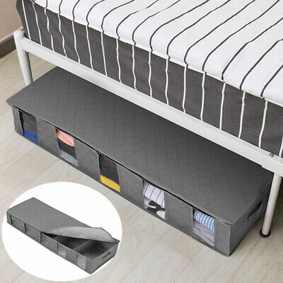 5 Compartments Under Bed Storage Box Folding Clothes Shoes Fabric Bag Organiser • 10£