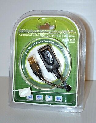 AU17.99 • Buy NEW 10M 32FT USB 2.0 Active Extension Cable Cord Repeater Retail Packaging