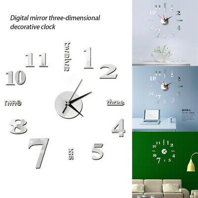 Large Number Wall Clock 3D Mirror Sticker Modern Home Office Decor Art Decal UK • 5.79£