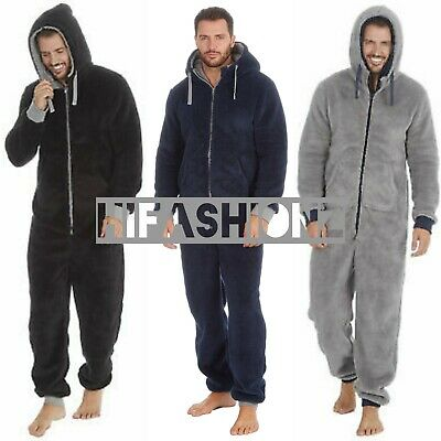 Mens Snuggle Fleece Onezee Super Soft Hooded Jumpsuit Oneise All In One Hot Suit • 21.99£