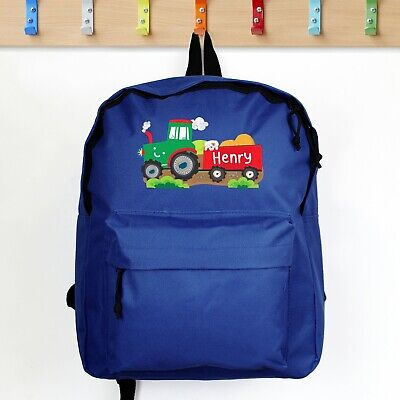 AU30.25 • Buy Personalised Children's Boys Tractor Blue School Days Out Backpack Gift Son