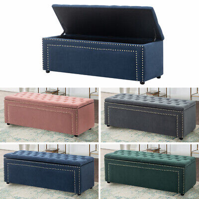 Chesterfield Large Ottoman Toy Storage Bench Seat Footstool Bed End Stool Velvet • 109.95£
