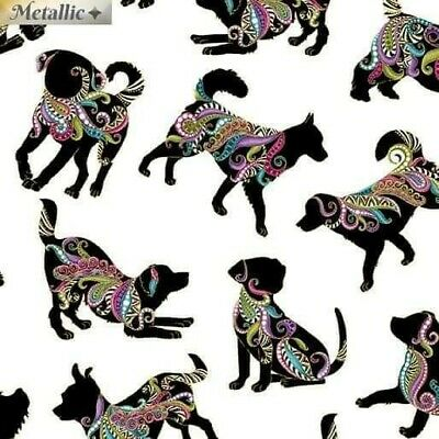 Dog Dalmatian Pug Bulldog Chihuahua Labrador White Dog On It Cotton Fabric • 9.99£
