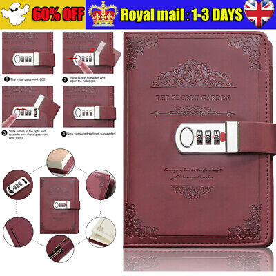 £11.89 • Buy Retro PU Leather Password Book Diary Book Notebook With Lock Journal Lockable