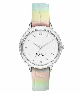 $ CDN81.45 • Buy NWT 🐚  KATE SPADE KSW1606 Iridescent Leather Band Silver Tone 38mm Watch
