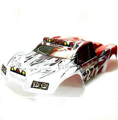 73910 RC 1/8 Scale Monster Truck Truggy Body Shell Cover Red White Short Course • 26.99£