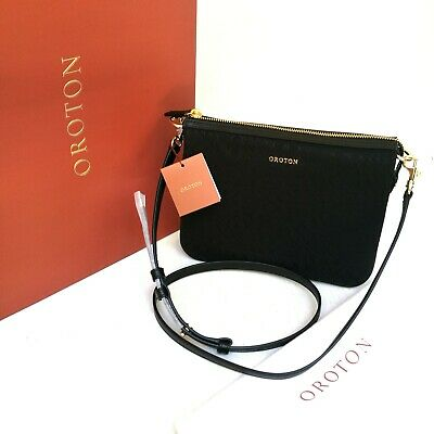 AU119 • Buy New OROTON Woman Hand Bag Handbag Leather Canvas Black Signet Crossbody