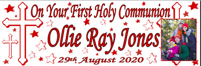 Large Personalised First Holy Communion Banners Red Poster Decorations 1st First • 8.95£