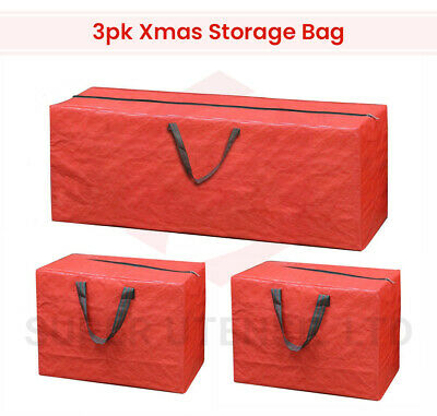 3 X Large Christmas Storage Zip Bags Tree, Decorations, Lights With Handles Xmas • 8.99£