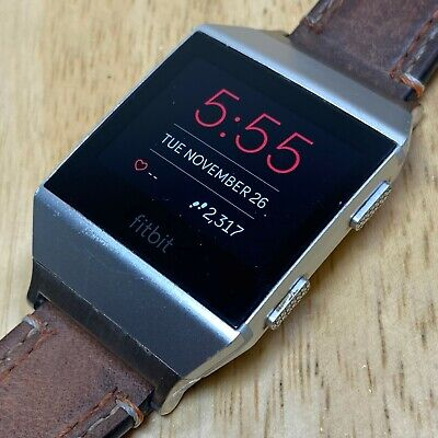 $ CDN92.05 • Buy Fitbit Ionic FB503 Silver Leather Band Fitness Watch Activity Tracker Smartwatch