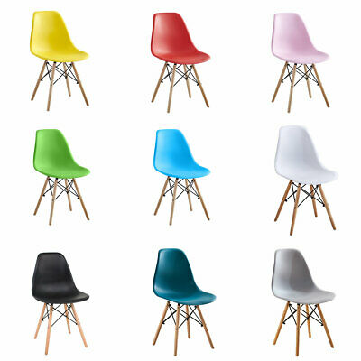 £89.99 • Buy 4 Pcs Retro Eiffel Dining Chair Plastic Seat Wood Leg Kitchen Home Office Chairs