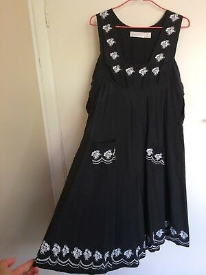AU65 • Buy ALICE McCALL Sz 10 Black Sun Dress, White Embroidery, SILK COTTON MINT CONDITION