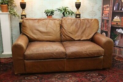 2 Seater Halo Sofa Aniline Vintage Brown Leather • 550£